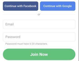 Perkwiz App-Sign Up